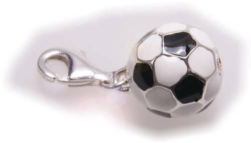 Charm Fußball schwarz-weiß Silber 925 Bettelarmband Sterlingsilber Qualität Ball