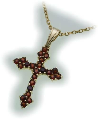 Damen Kreuz m. Granat in Silber 925 Granatkreuz Anhänger Sterlingsilber