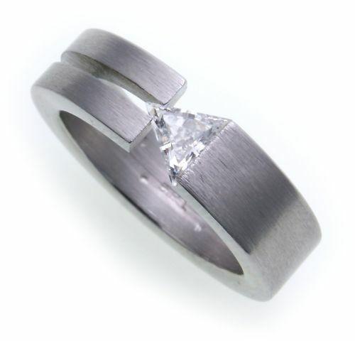 Damenring Ring Edelstahl mattiert m Zirkonia Spannring D1011 ZI