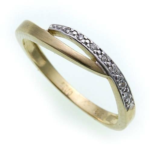 Damen Ring Brillant 0,035ct echt Gold 333 mattiert Gelbgold Diamant SI