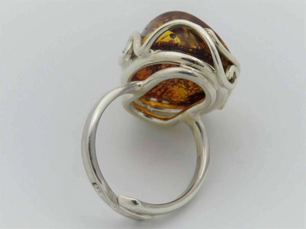 Neu Ring groß echt Natur Bernstein braun echt Silber 925 Sterlinsilber Top cogna