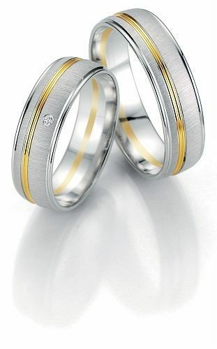 Trauringe Breuning Smartline Collection 7057/7058 in 585 Gold 14 kt weiß gelb