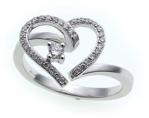 Damen Ring Herzform Brillant 0,226ct echt Weißgold 585 Gold Diamant SI