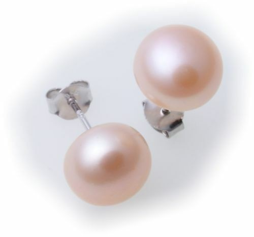 Neu Ohrringe Stecker Zuchtperlen rose 8 mm echt Silber 925 Sterlingsilber Perlen