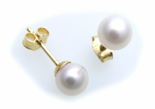 Damen Ohrringe echt Süßwasserzuchtperlen 6 mm Gold 585 Perle Gelbgold