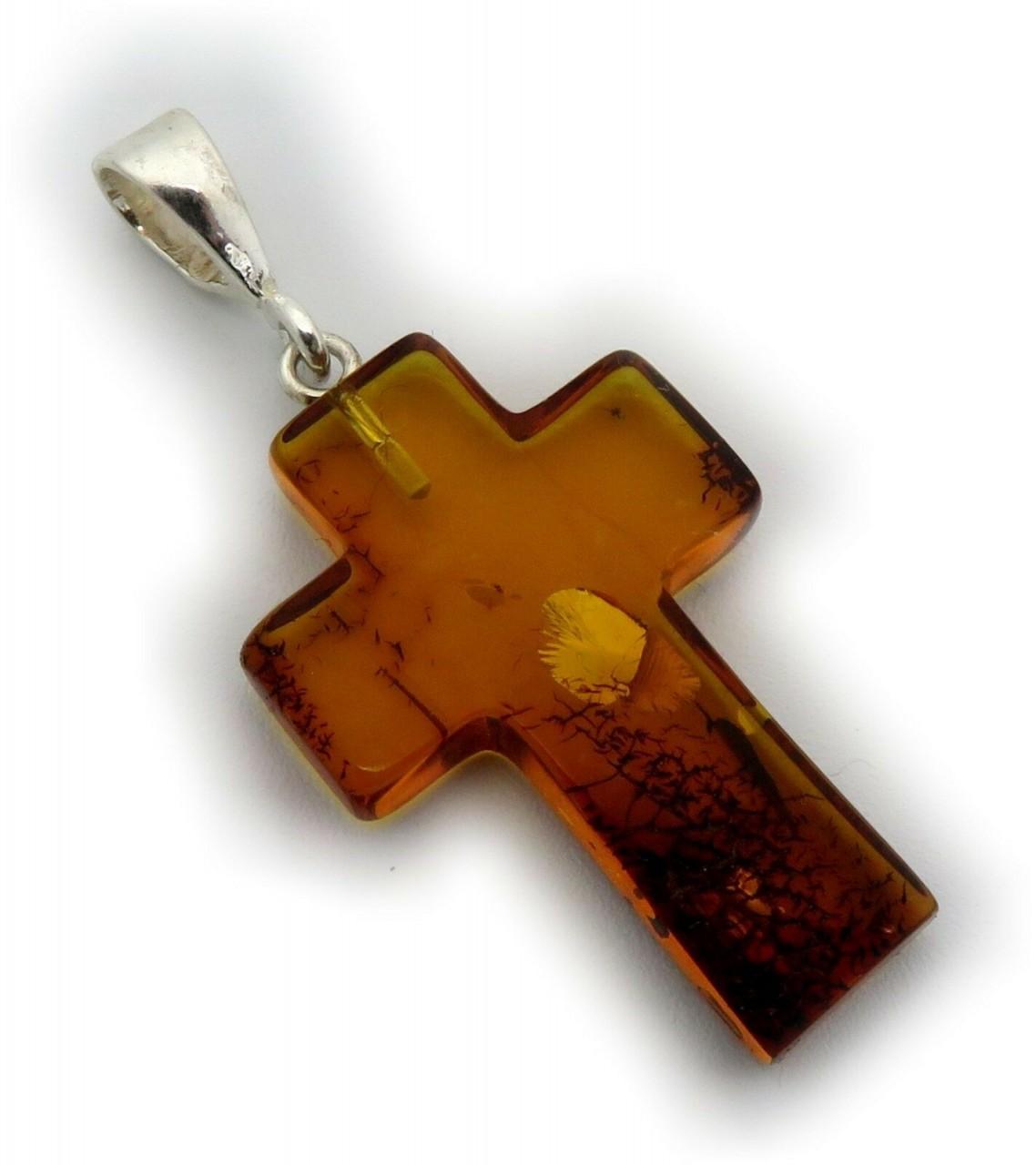 Anhänger echt Bernstein braun Kreuz in Silber 925 Naturbernstein Amber Qualität