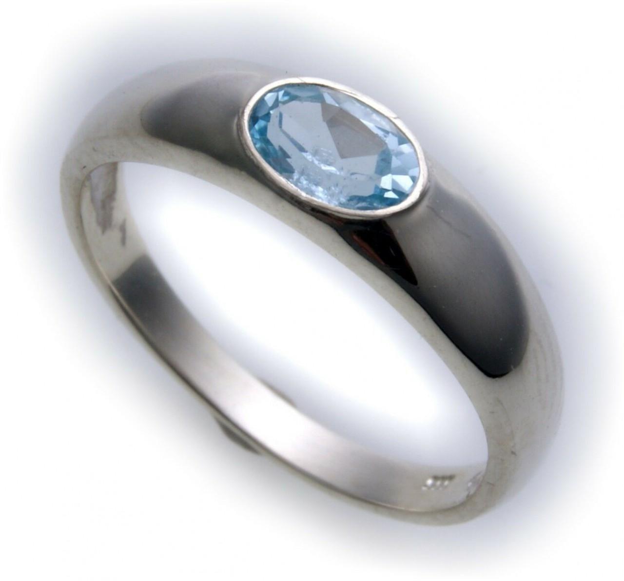 Bestpreis Damen Ring echt Weißgold 585 Topas 14kt Qualität Gold Blautopas Blau