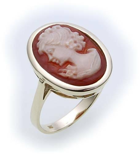 Damen Ring Muschelgemme echt Gold 333 Gelbgold Granatring Muschelkamee Kamee