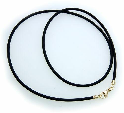 Collierkette Kautschuk mit Gold 585 2,0 mm Länge- 60 cm Gelbgold Damen Halskette