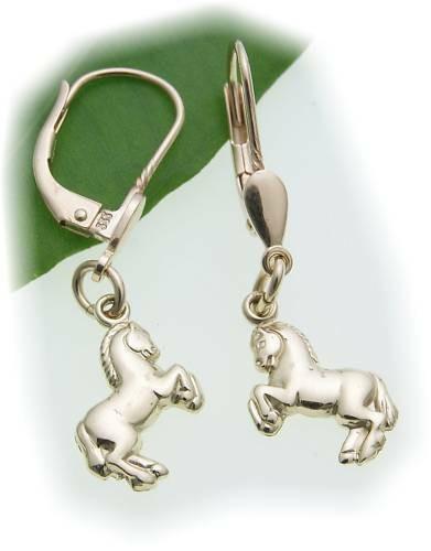 Kinder Ohrringe Ohrhänger Pferd groß 333 Gold Glanz Gelbgold Qualität