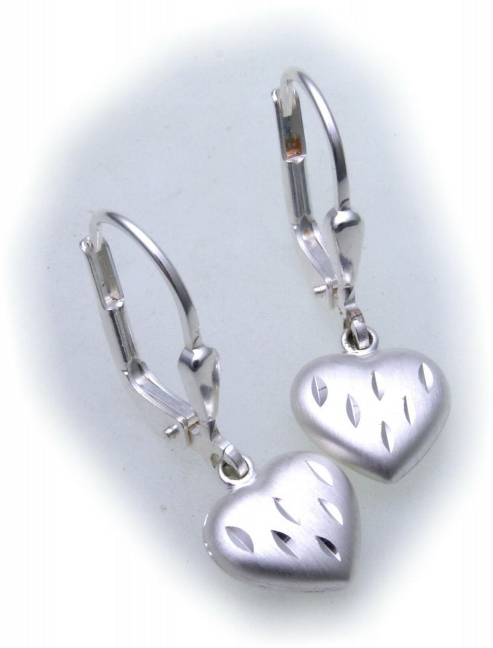 Ohrringe Hänger Herz mattiert Silber 925 3D Ohrhänger Sterlingsilber Unisex