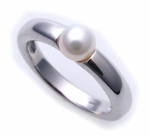 Damen Ring echt Weißgold 333 Perle 6,5 mm Glanz 8kt 333er- Gold