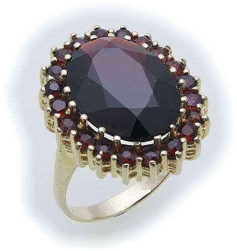 Damen Ring m. Granat in Gold 333 Granatring alle Weiten Gelbgold Qualität 8925/3