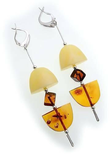 Damen Ohrringe Hänger echt Bernstein 90 mm echt Silber Sterlingsilber