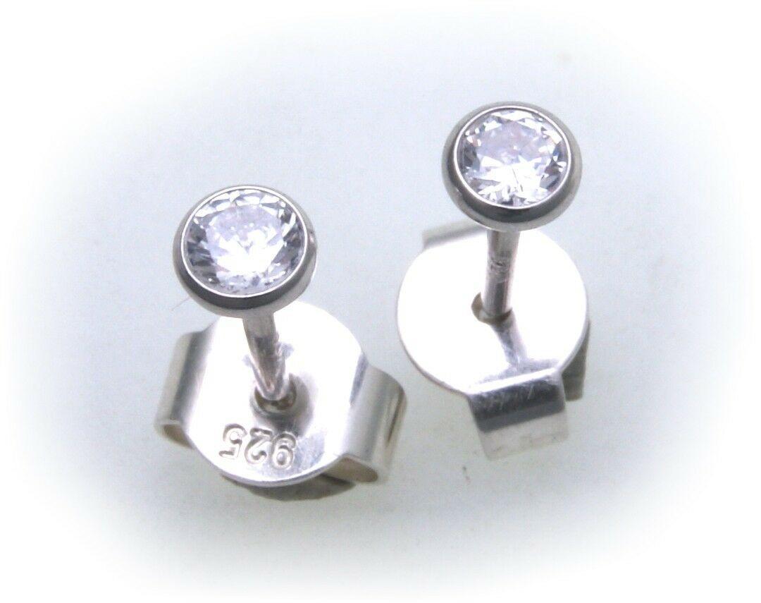 Damen Ohrringe rund 2,5 mm Zirkonia echt Silber 925 Ohrstecker Sterlingsilber