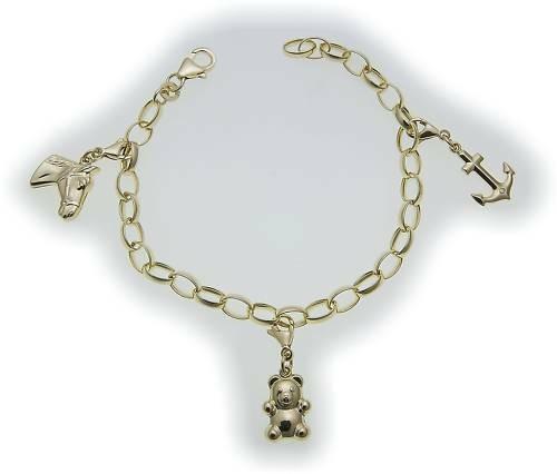 Damen Bettelarmband Anker Teddy Pferd in Gold 333 Charm Armband Gelbgold