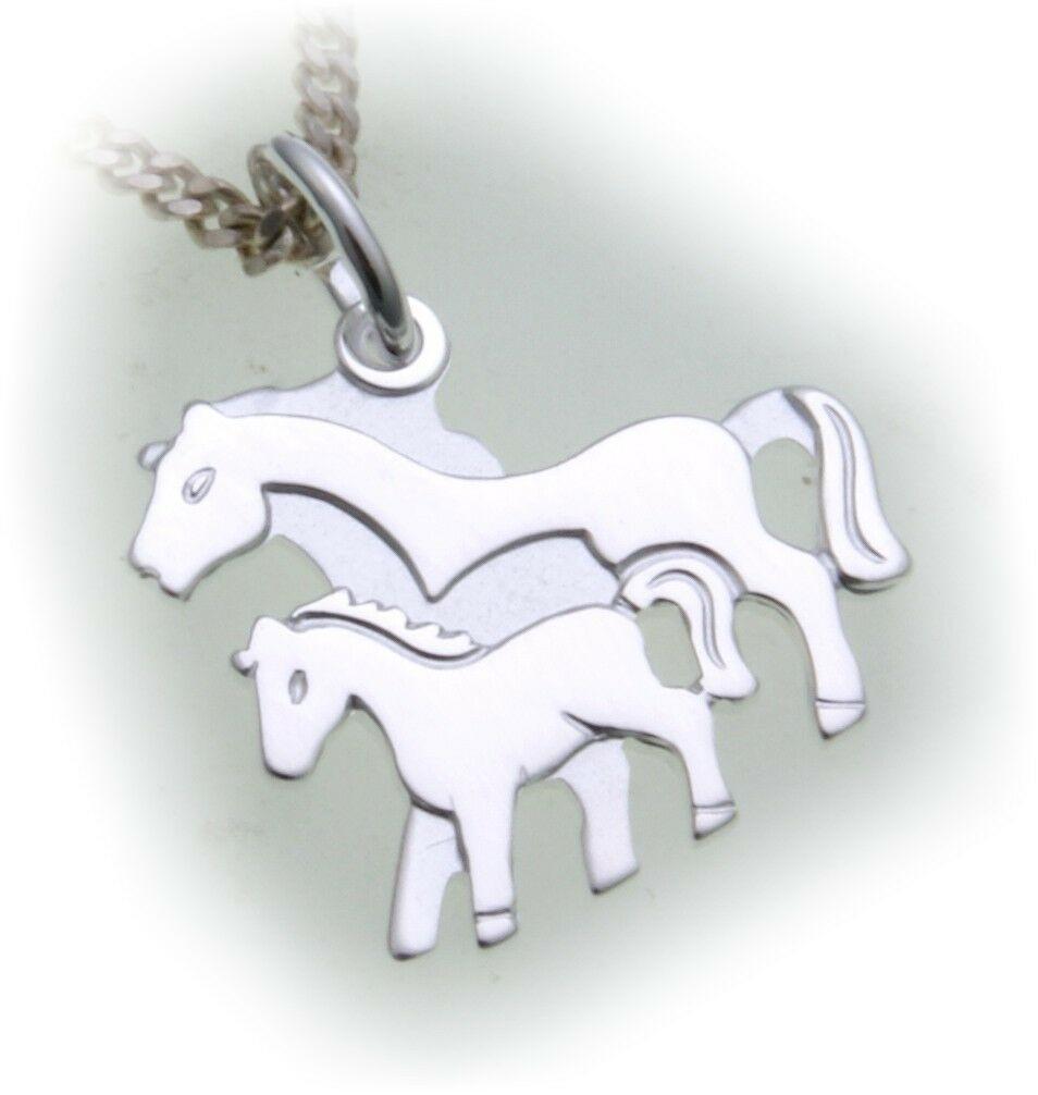 Anhänger Pferd echt Silber 925 Qualität Sterling Pferde Stute mit Fohlen neu