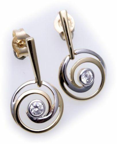Damen Ohrringe Hänger Zirkonia echt Gold 333 Bicolor Gelbgold Ohrhänger Qualität