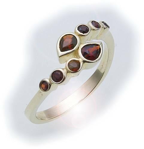 Damen Ring m. Granat in Gold 585 Gelbgold Granatring alle Weiten 8157/5GR
