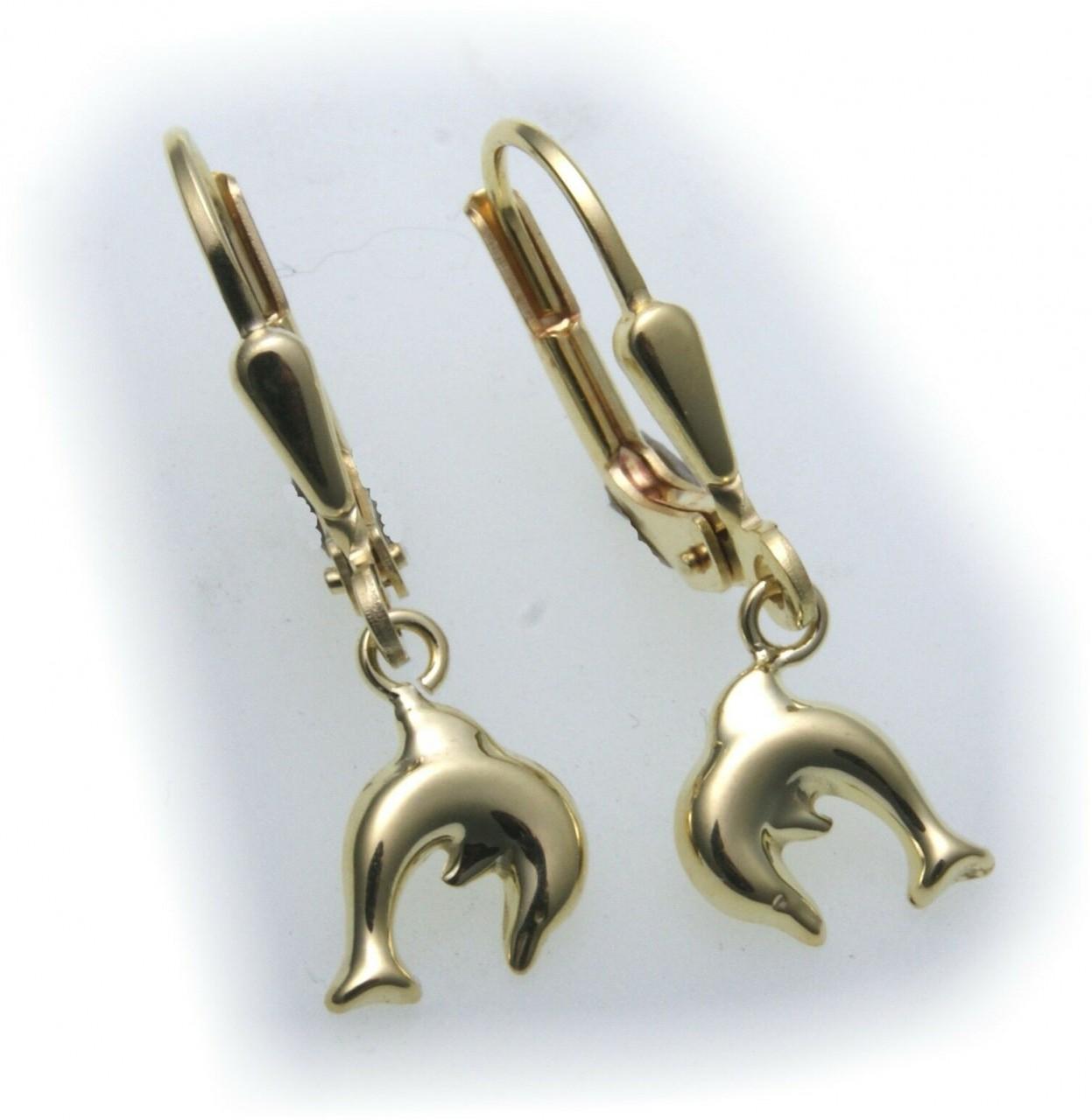 Kinder Ohrringe Ohrhänger Delfin 3D Glanz 585 Gold Gelbgold Qualität