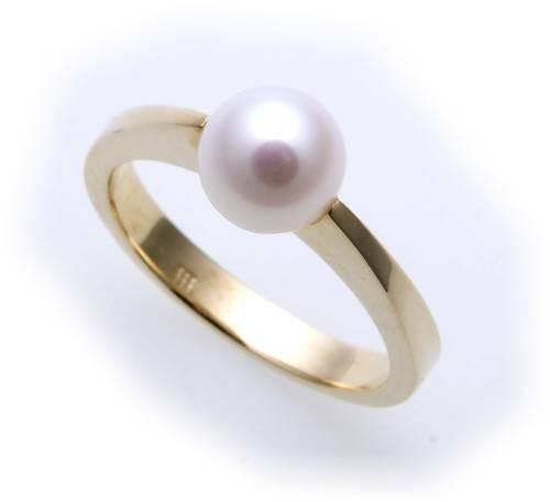 Damen Ring echt Gold 333 Perle 7,5 mm Glanz Gelbgold 8kt