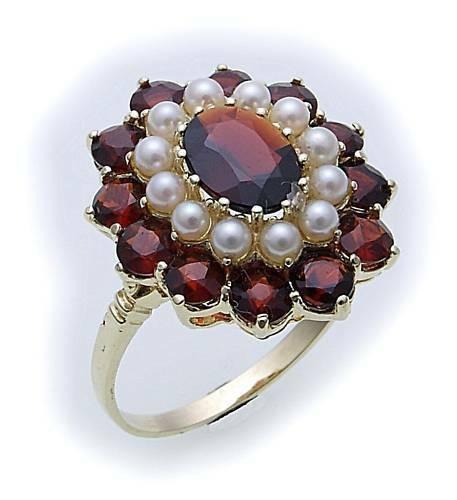 Damen Ring m. Granat u. Perlen in Gold 585 Gelbgold Granatring 8079/5GR.ZP