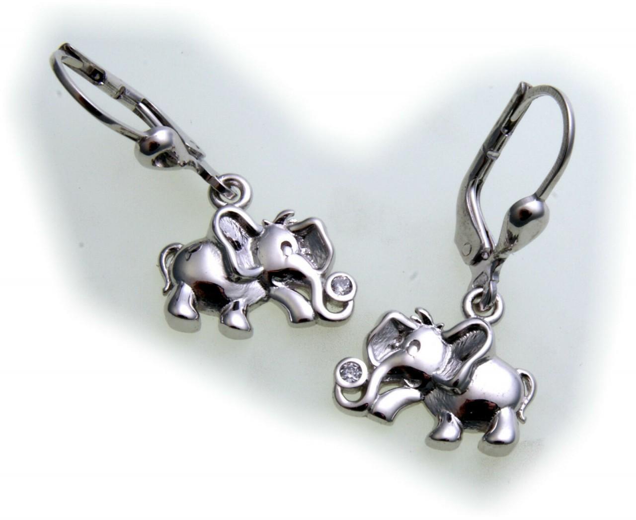 Ohrringe Hänger Elefant echt Silber 925 Sterlingsilber Zirkonia Ohrhänger