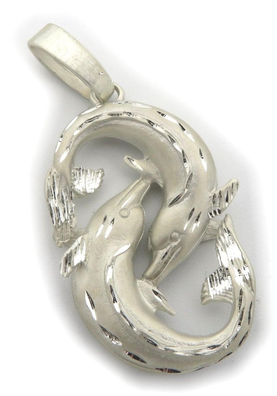 Anhänger XXL Sternzeichen Fische diam. sehr groß Silber 925 Sterling Qualität