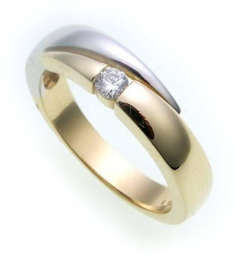 Damen Ring echt Gold 585 Bicolor Zirkonia poliert Gelbgold 14kt Qualität