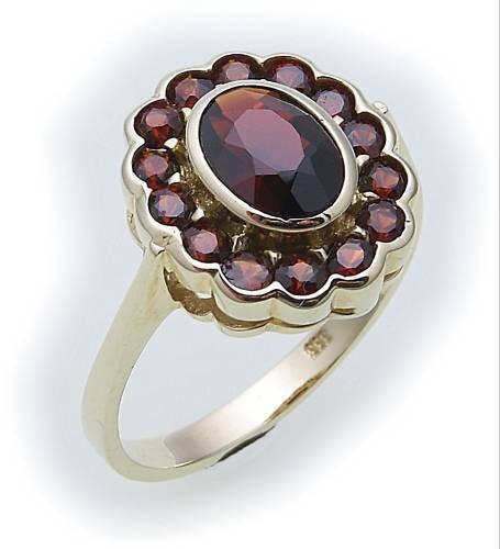 Damen Ring m. Granat in Gold 333 Granatring Gelbgold Qualität 8905/3GR