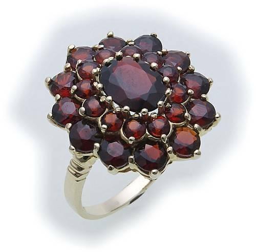 Damen Ring m. Granat in Gold 333 Granatring Gelbgold Qualität 8079/3GR