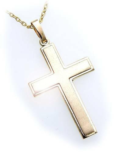 Anhänger Kreuz Gold 585 41 mm teilmatt. massiv Gelbgold Unisex Qualität