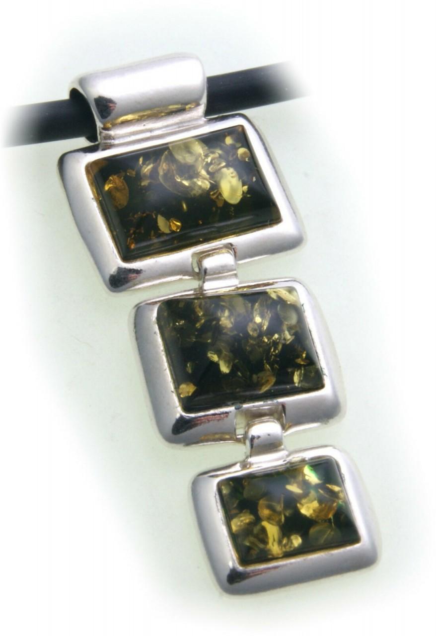 Anhänger echt Bernstein grün in echt Silber 925 Sterlingsilber Unisex Qualität