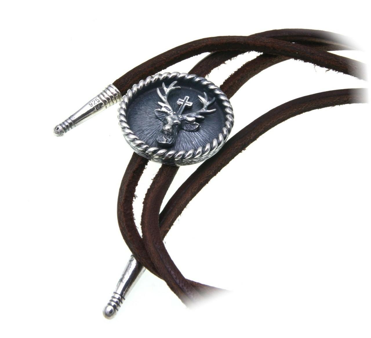 Leder Collier Hubertus echt Silber 925 Jagdschmuck Hirsch Kreuz