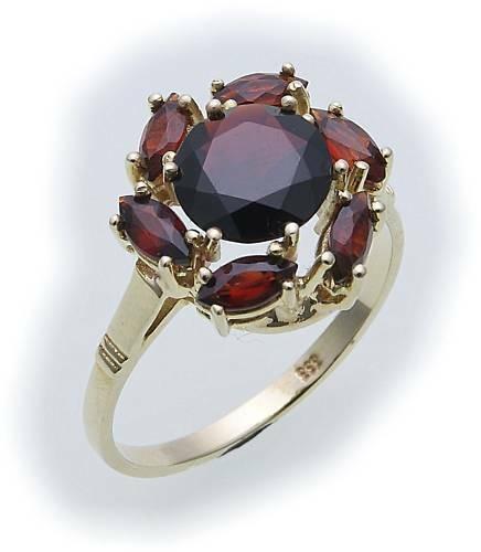 Damen Ring m. Granat in Gold 333 Granatring alle Weiten Gelbgold Qualität 8525/3