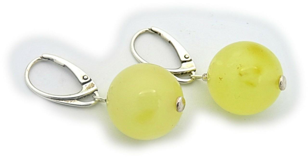 Selten Ohrringe echt Natur Bernstein gelb weiß Silberbrisur 925 16mm 14mm Neu