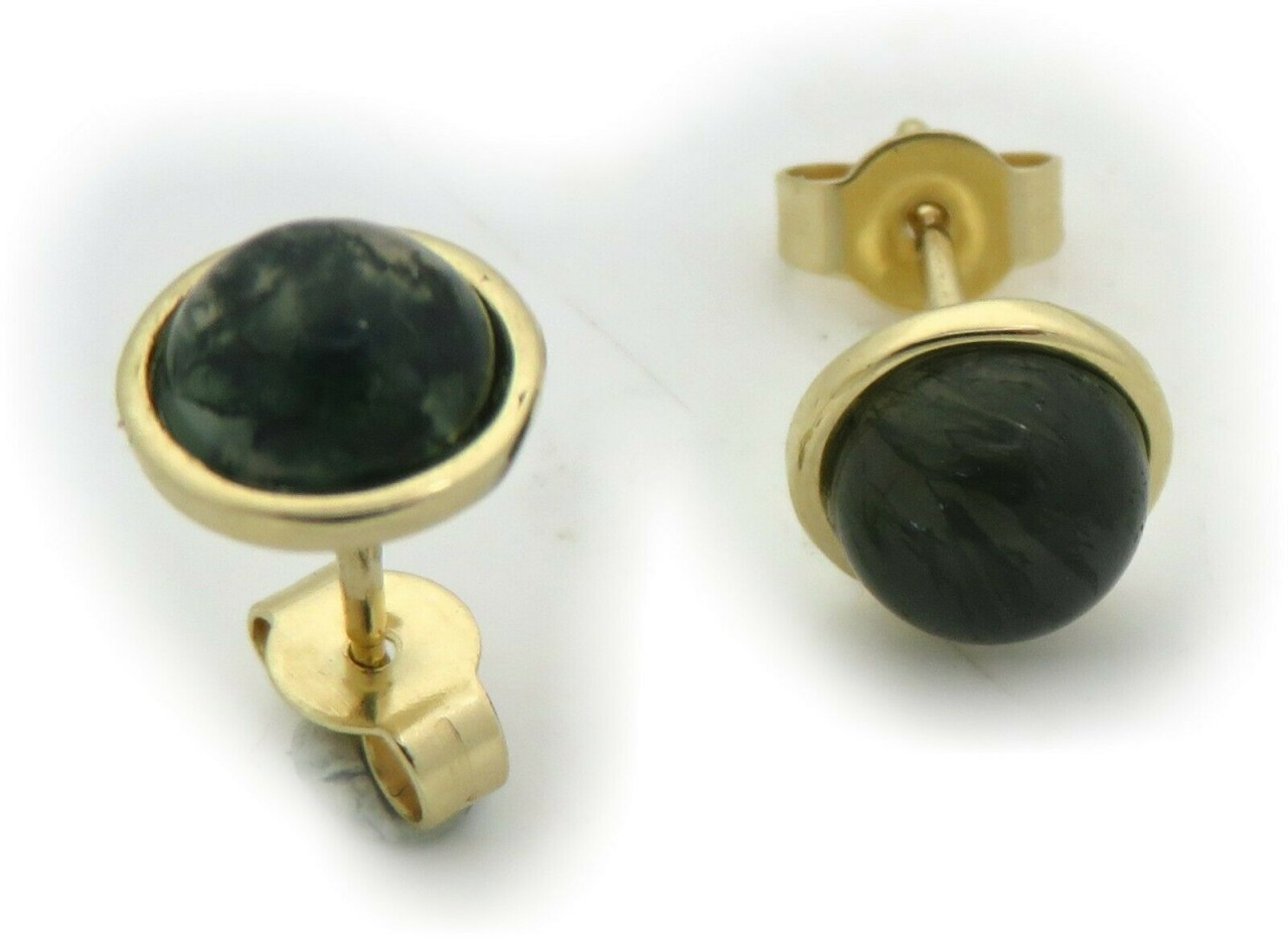 Damen Ohrringe echt Moosachat Gold 333 Stecker Ohrstecker Gelbgold 8 karat 8 mm