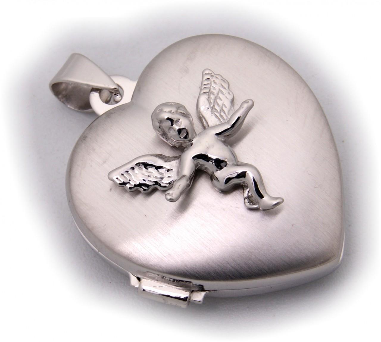 Anhänger echt Silber 925 Medaillon Herz mit Engel Sterlingsilber Neu