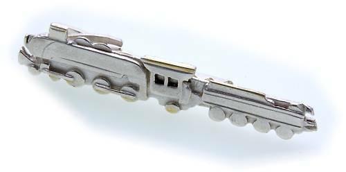 Krawattenhalter Dampflok Eisenbahn echt Silber 925 Zug Sterlingsilber