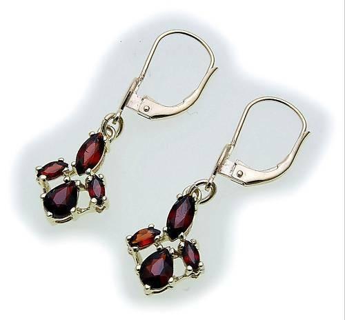 Damen Ohrringe m. Granat in Silber 925 Sterlingsilber Hänger Ohrhänger 6976/8GR