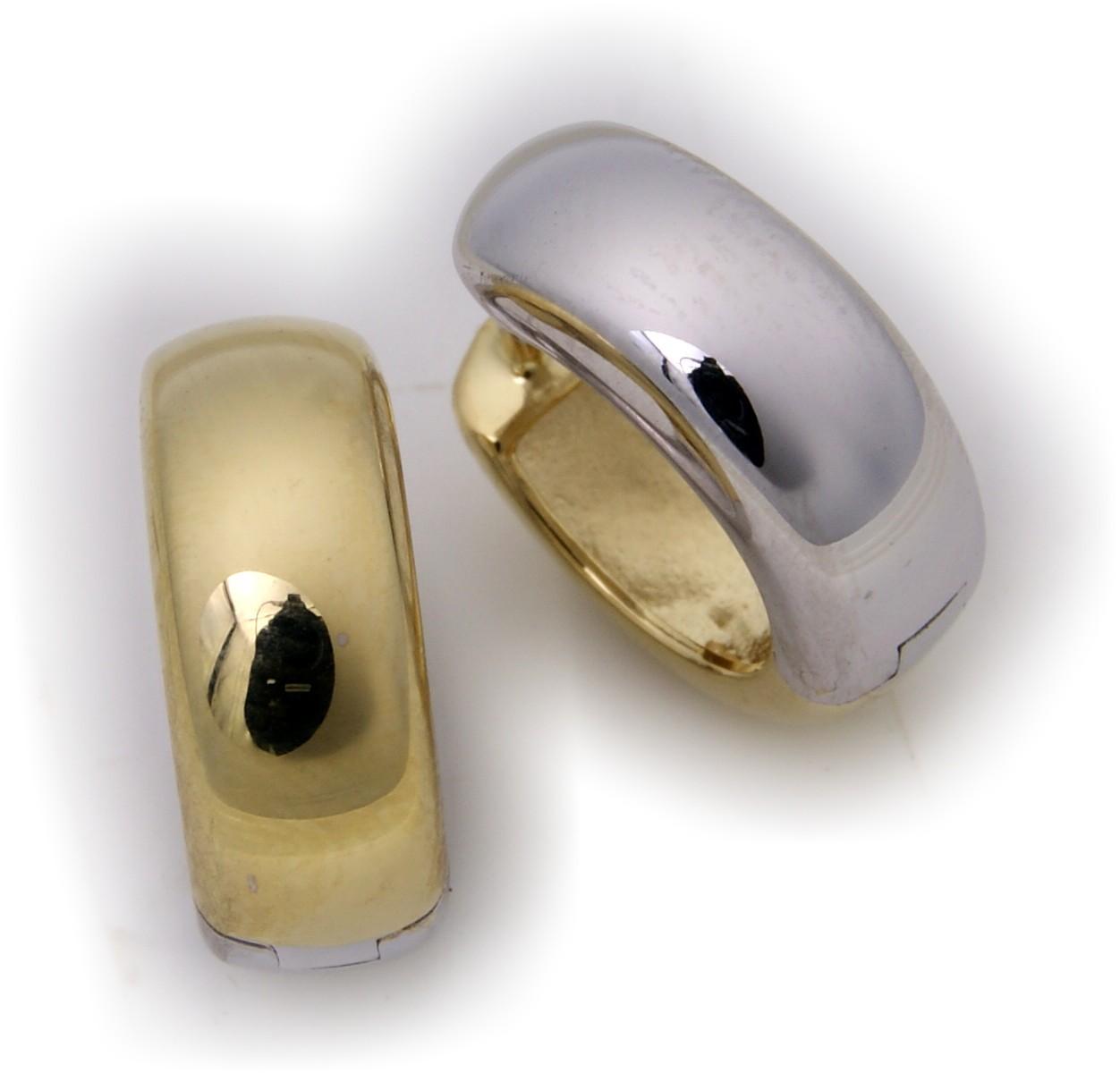 Ohrringe Klapp-Creolen halbrund echt Silber 925 Bicolor 16 mm Sterlingsilber gelb weiß