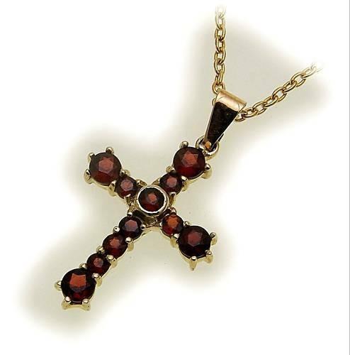 Kreuz m. Granat in Gold 585 Granatkreuz Anhänger Damen Gelbgold 9037