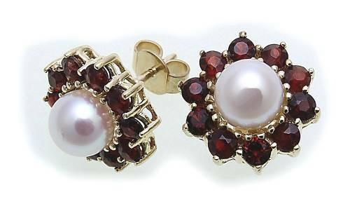 Damen Ohrringe Granat Zuchtperle Perlen in Gold 585 Gelbgold Ohrstecker 6729/5G