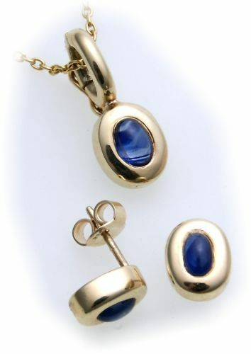 Damen Ohrringe Stecker mit echt Safir echt Gold 585 Gelbgold Ohrstecker Saphir