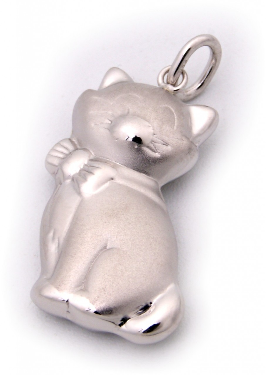 Neu Silber 925 Anhänger Katze Sterlingsilber teilmatt plastisch
