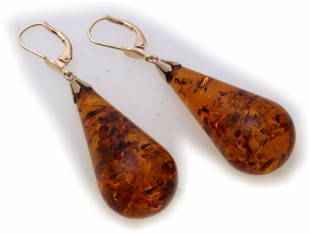 Neu Ohrringe Hänger echt Bernstein Tropfen Pampel groß Gold 585 36 mm Gelbgold