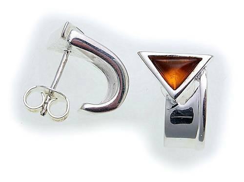 Damen Ohrringe echt Bernstein Ohrstecker in Silber 925 Sterlingsilber OS2005