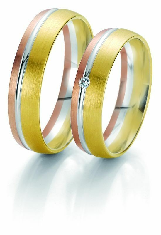 Trauringe Breuning Rainbow Collection 6205/6206 in 585 Gold weiß rot gelb 14 kt