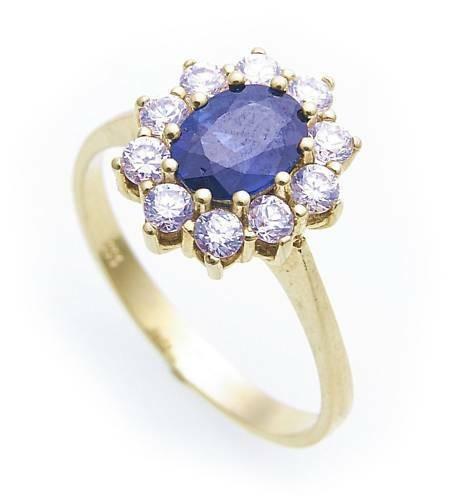 Damen Ring echt Safir 7 x 5 echt Gold 333 mit Zirkonia Gelbgold Saphir 8 karat