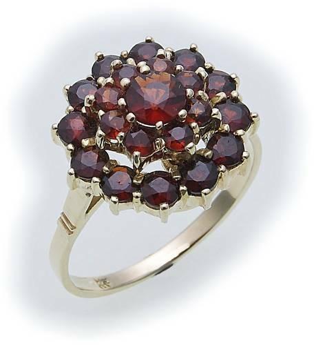 Damen Ring m. Granat in Gold 585 Granatring Gelbgold Qualität 8902/5GR